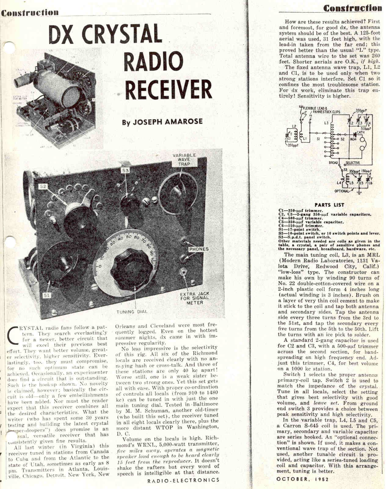 Antique Radio Forums • View topic - DX crystal radio receiver, need